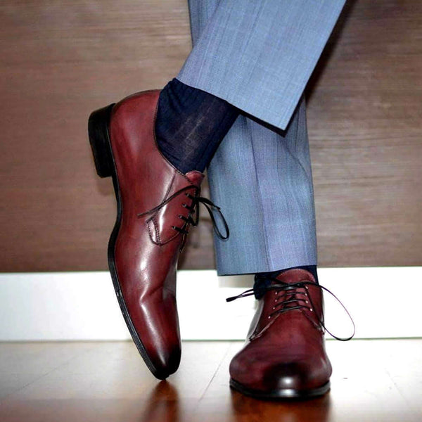 Oxblood derby bluchers with light blue grey suit