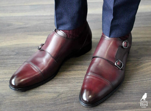 Oxblood monks straps with blue/navy suit
