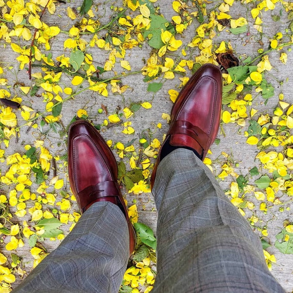 Oxblood loafers with suit trousers