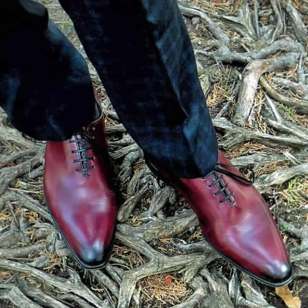 Oxblood shoes with navy blue suit