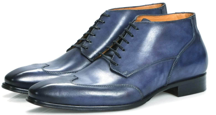 Newton Wingcap Chukka Boot - Blue-Chukka boot-Side View