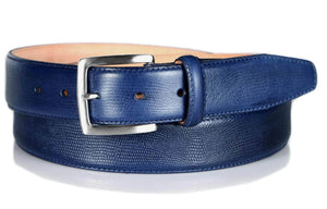 Leather Belt Blue Snakeskin