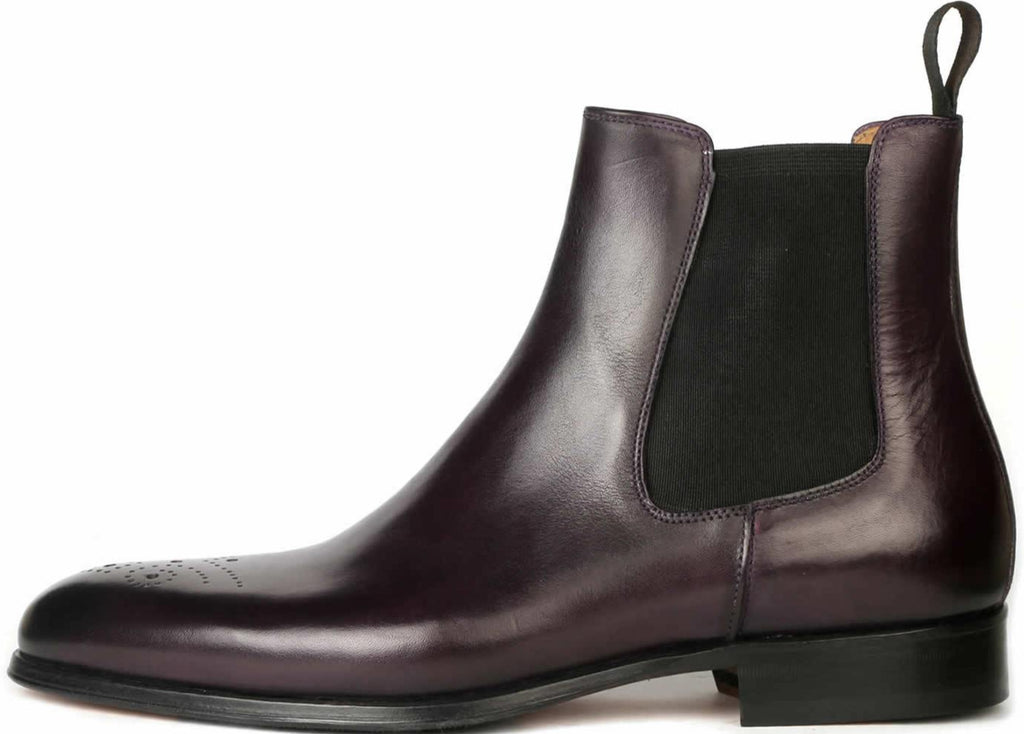 Stirling Brogue Chelsea Boot - Aubergine
