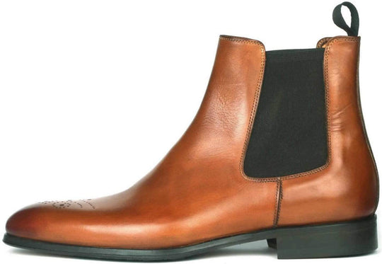 Stirling Brogue Chelsea Boot - Tan