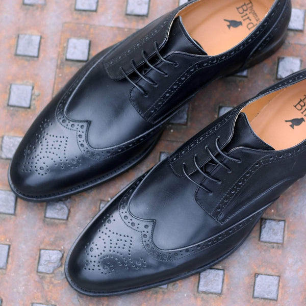 Wholecut shoes - Ashbourne Derby Wingtip Brogue - Black