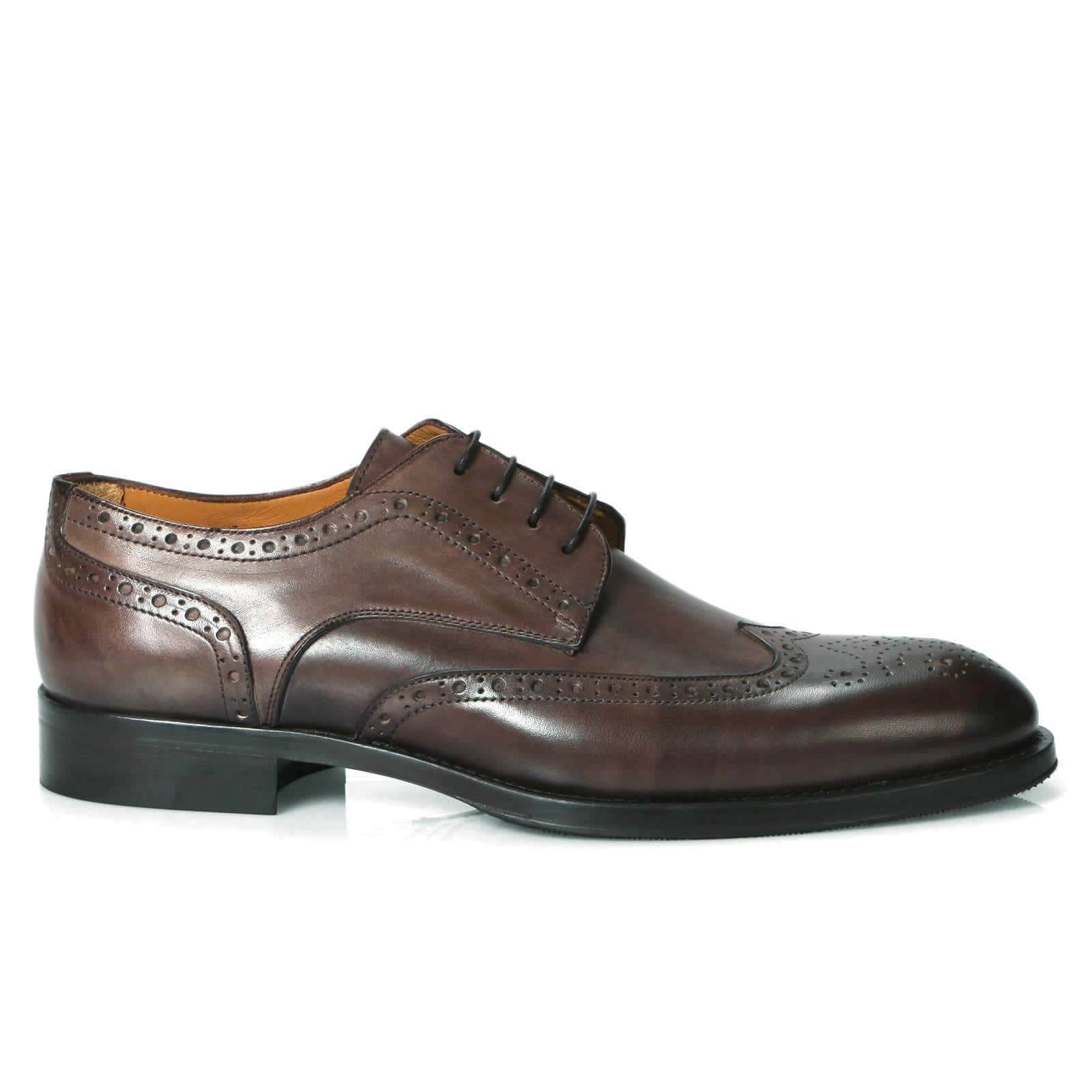 Ashbourne Derby Wingtip Brogue - Brown-Derby shoe-Side View