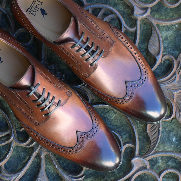 Wholecut shoes - Madison Derby Wingtip Brogue - Tan Brown