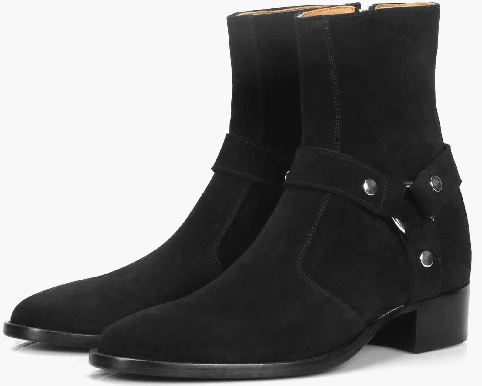 Vincent Harness Zip Boot - Black Suede