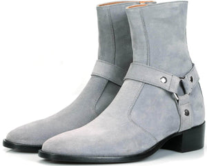 Mens Boots - Vincent Harness Zip Boot - Grey Suede