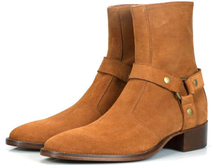Mens Boots - Vincent Harness Zip Boot - Tan Suede
