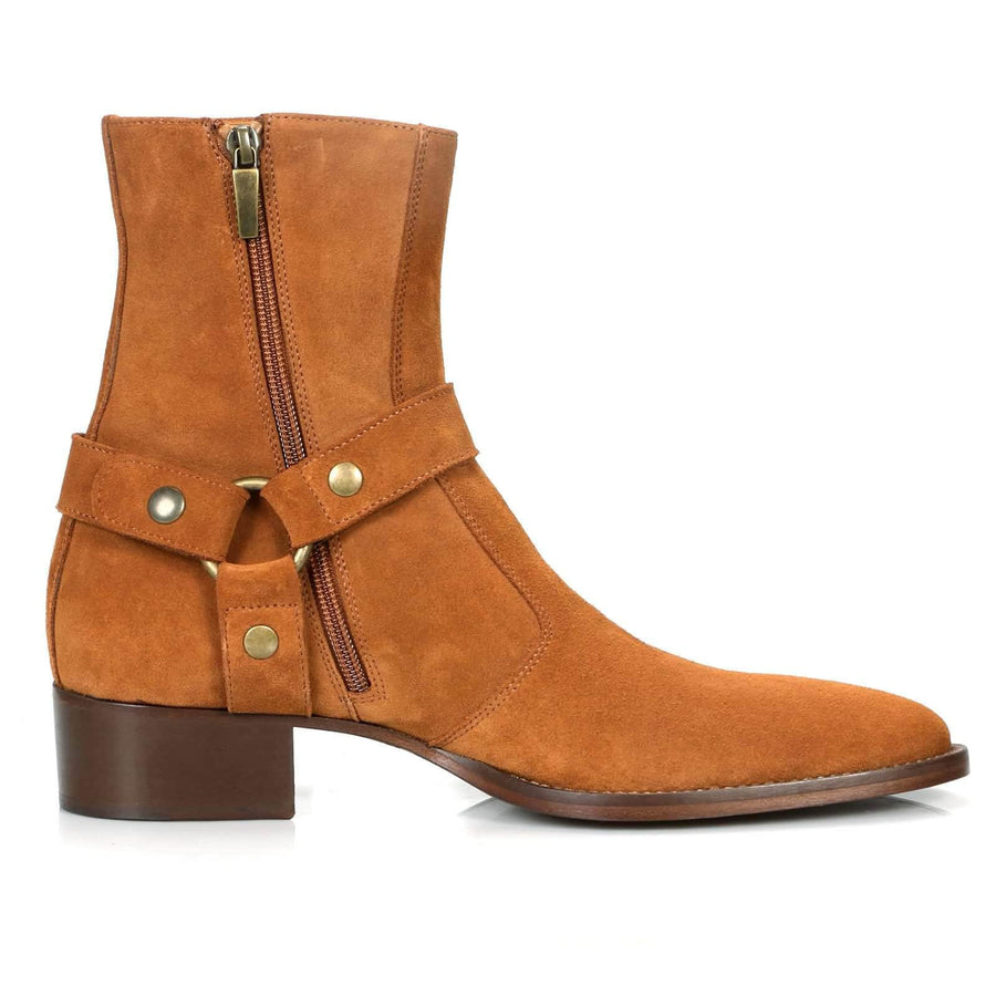 Vincent Harness Zip Boot - Tan Suede