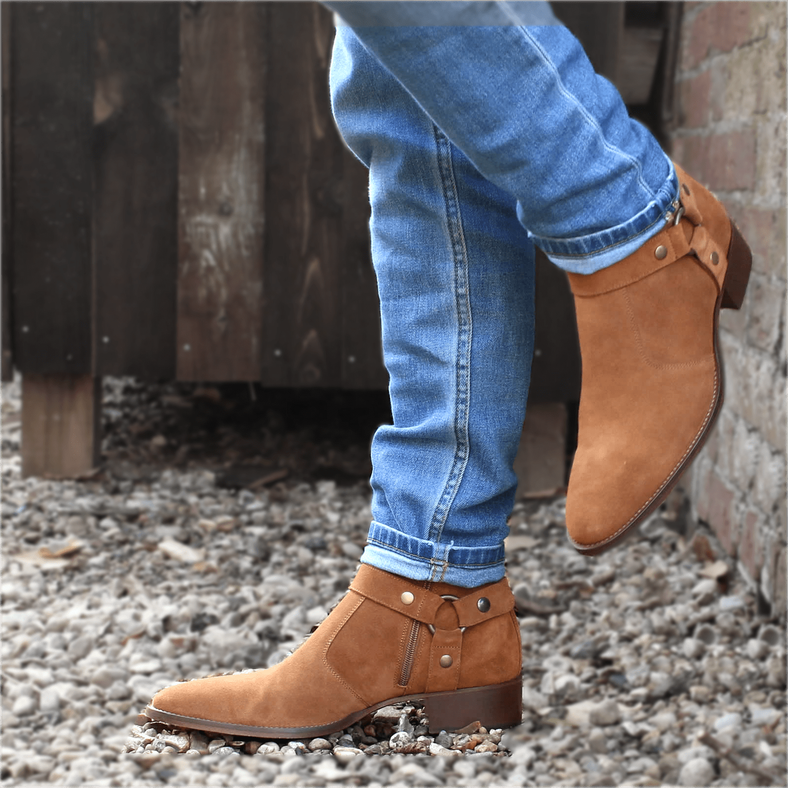 Customizable Men/'s Handcrafted Harness Zip Calf Boots Real Suede Silhouettes