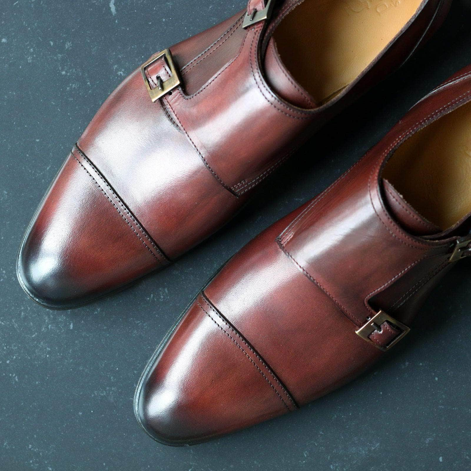 Bourne Double Buckle Monk Strap - Conker Brown