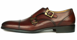 Bourne Double Buckle Monk Strap Conker Brown
