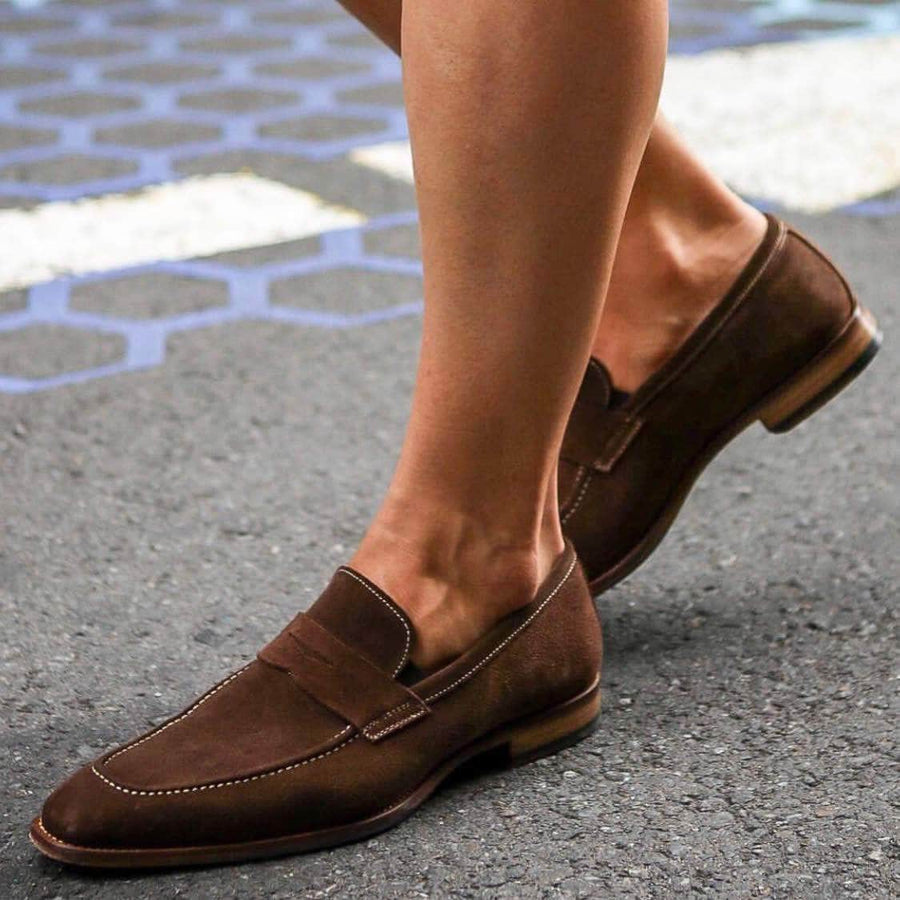 Wholecut shoes - Hampton Penny Loafer - Brown Suede