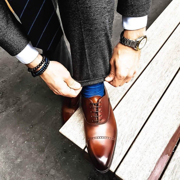 Harrow Punch Cap Toe Oxford - Brown