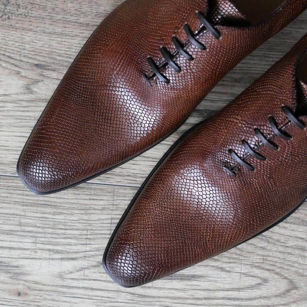 Benson Wholecut Oxford - Brown Snakeskin