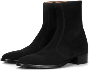 Mens Boots - Memphis Zip Boot - Black Suede