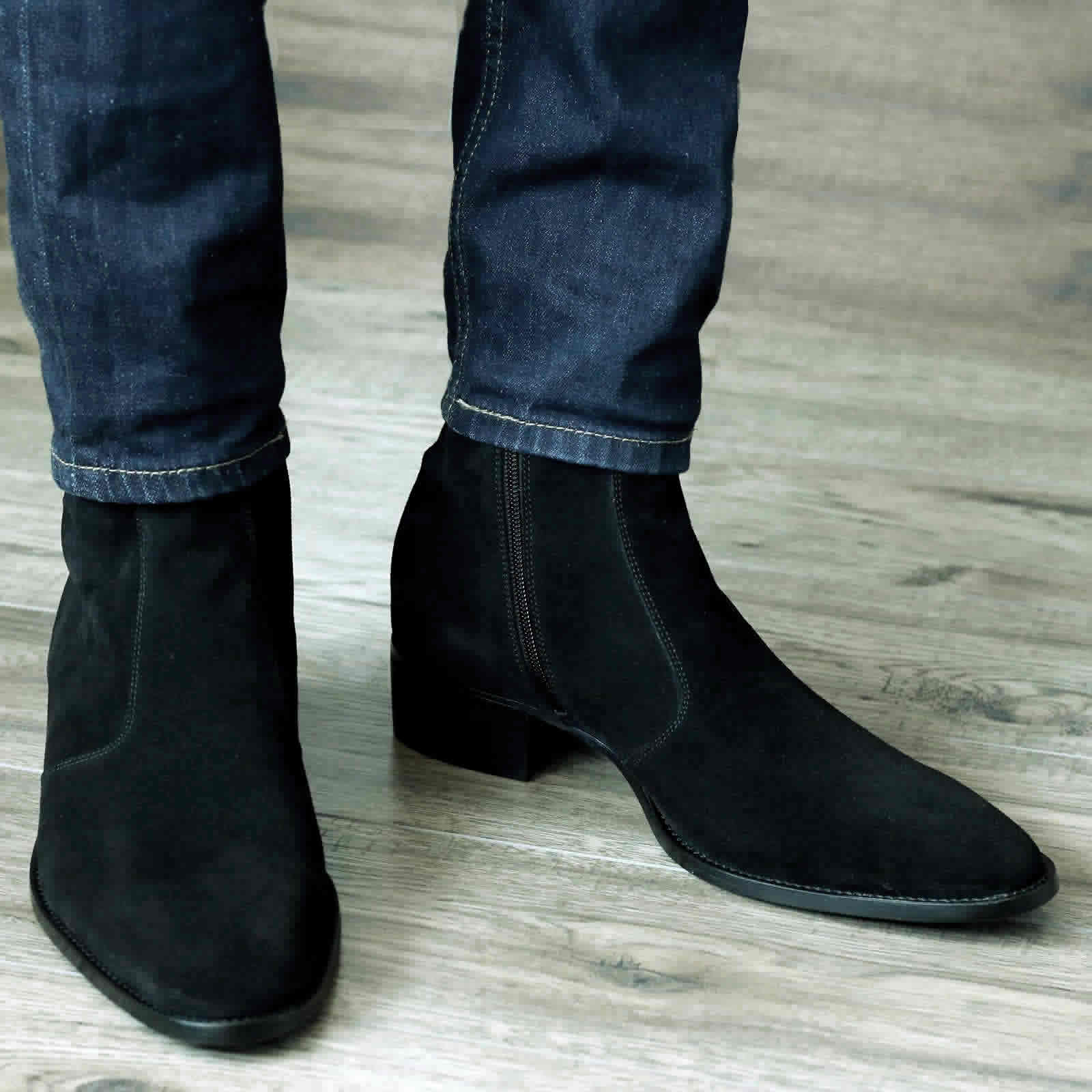 Memphis Zip Boot - Black Suede