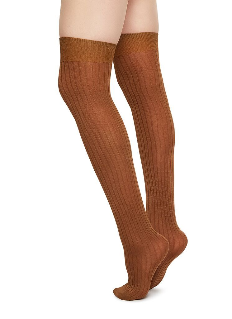 ELLA RIB OVER-KNEE CAMEL Knee High Stockings Swedish Stockings