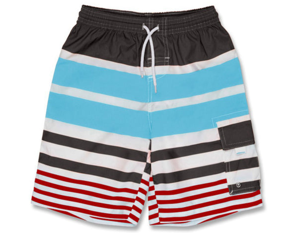 SnapperRock Aqua Red Stripe Surfer Shorts