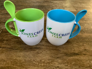 Blue or Green Jones Creek Farm Branded Mug with Spoon Sets