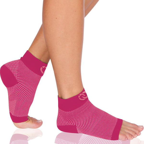 CompressionGear Foot Sleeves - Plantar Fasciitis Socks (Pair) - Pink - Women's