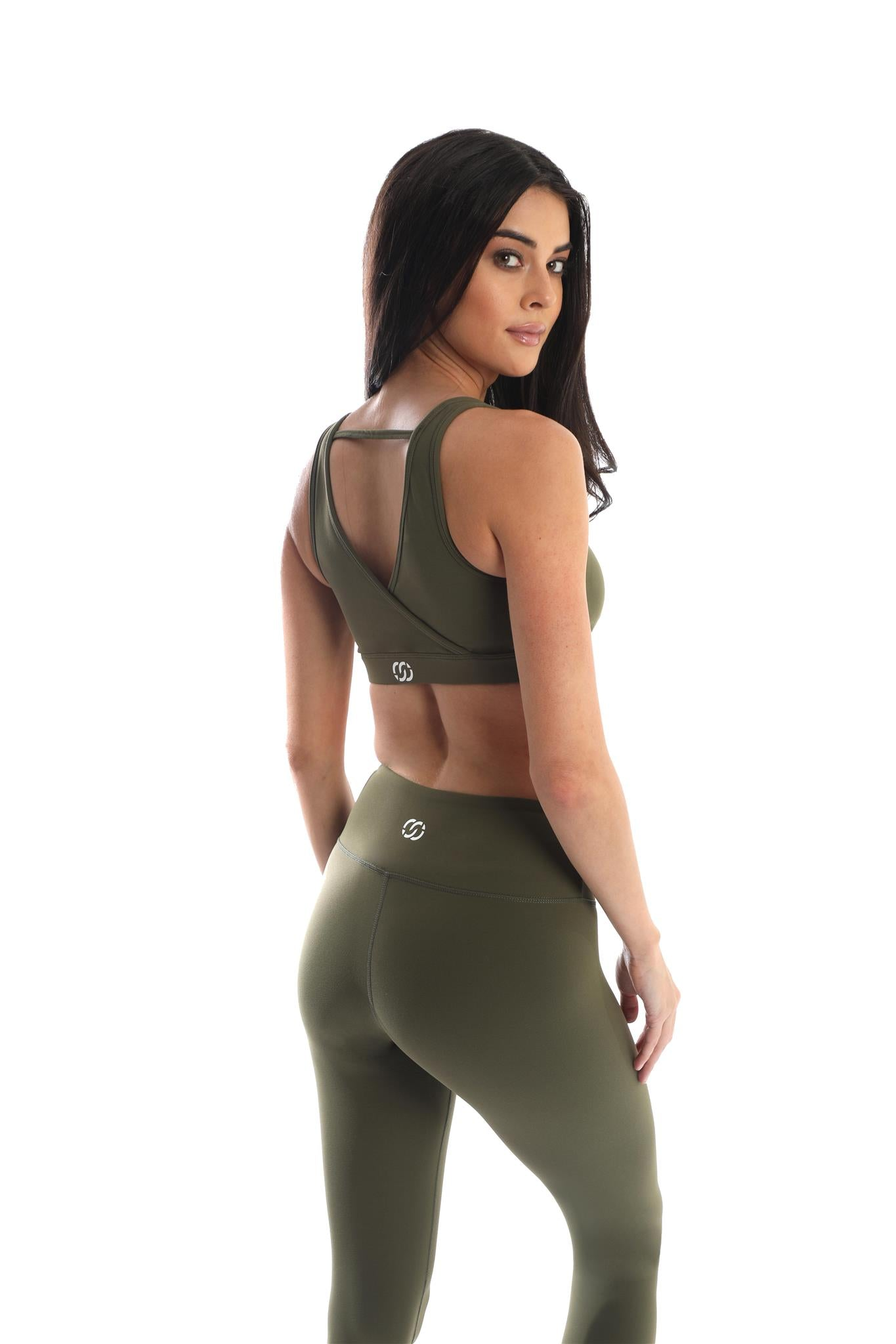 Trendsetter Mid-Waist Women's Leggings-Army Green