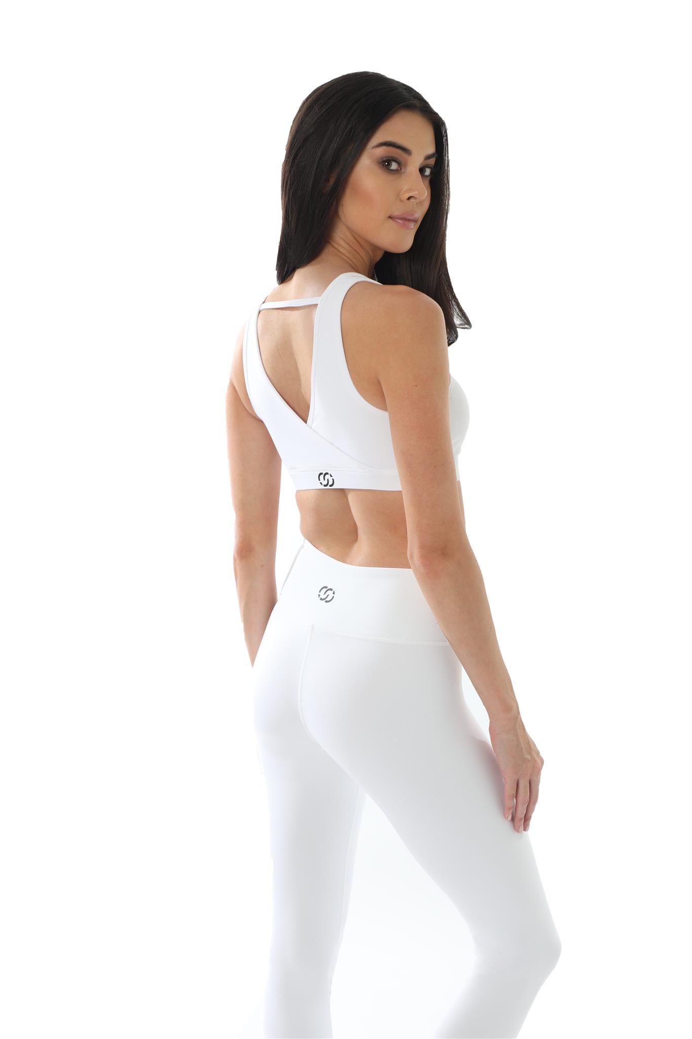 Trendsetter Mid-Waist Women's Leggings-White