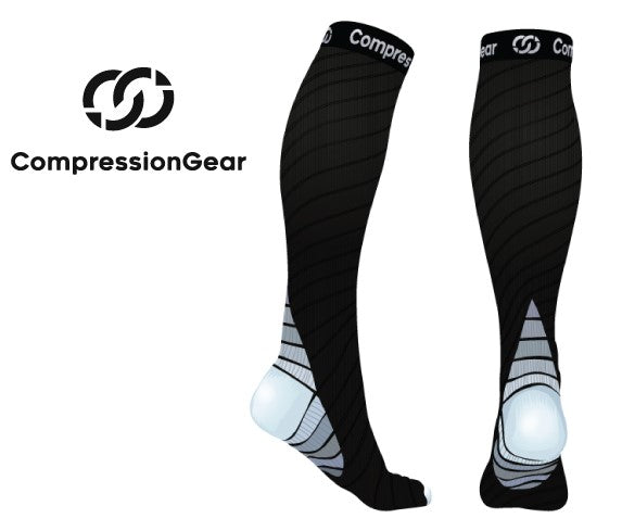 CompressionGear Sport Compression Socks - Men & Women - Black/Gray