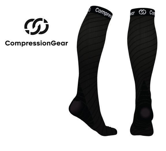 CompressionGear Sport Compression Socks - Men & Women - Black
