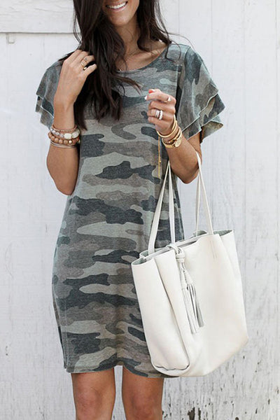 Zraus Round Neck Piled Camouflage Dress