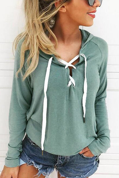 Zraus Solid Color Long Sleeve Strap Hooded Sweater