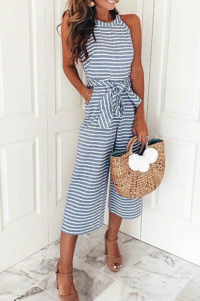 Zraus Bohemian Round Neck Striped Blue Cotton Blends One-piece Jumpsuits