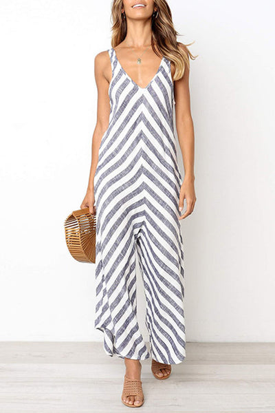 Zraus Striped Sleeveless Loose Jumpsuit