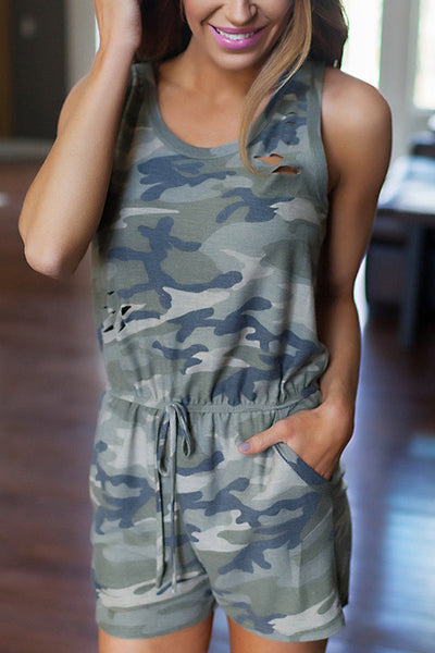 Zraus Round Neck Camouflage Hole Jumpsuit