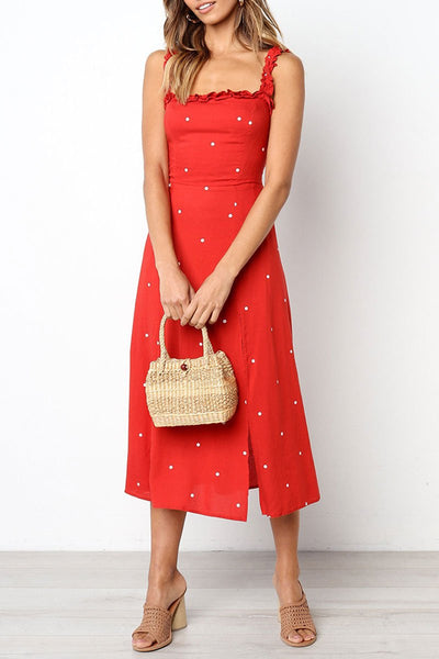 Zraus Dots Printed Red A Line Dress