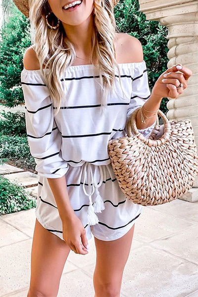 Zraus Off The Shoulder Striped Loose One-piece Romper
