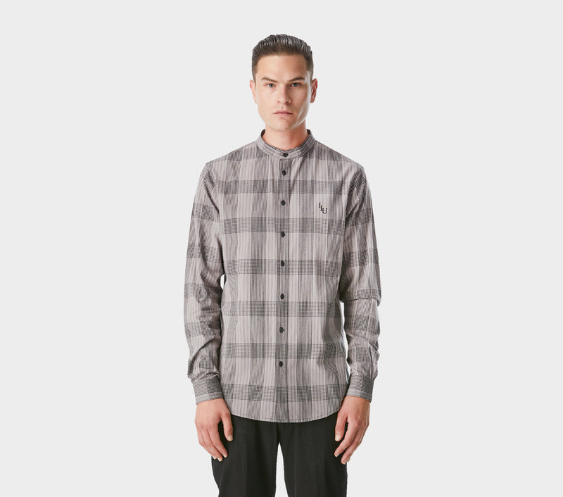 Check Mandarin Collar LS Shirt - Charcoal