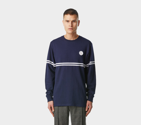 Thin Stripe Long Sleeve Tee - Navy/White