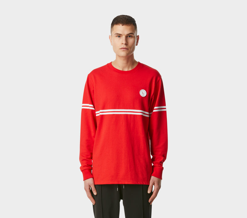 Thin Stripe Long Sleeve Tee - Trafford Red