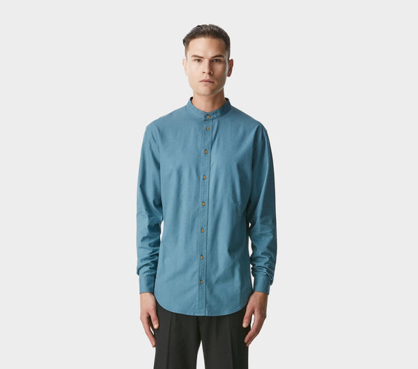 Mandarin Collar Shirt - Dusk Blue