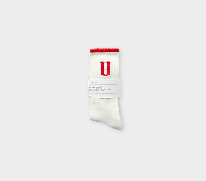 U logo Sock - White