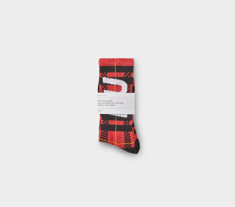 Check Sock - Red