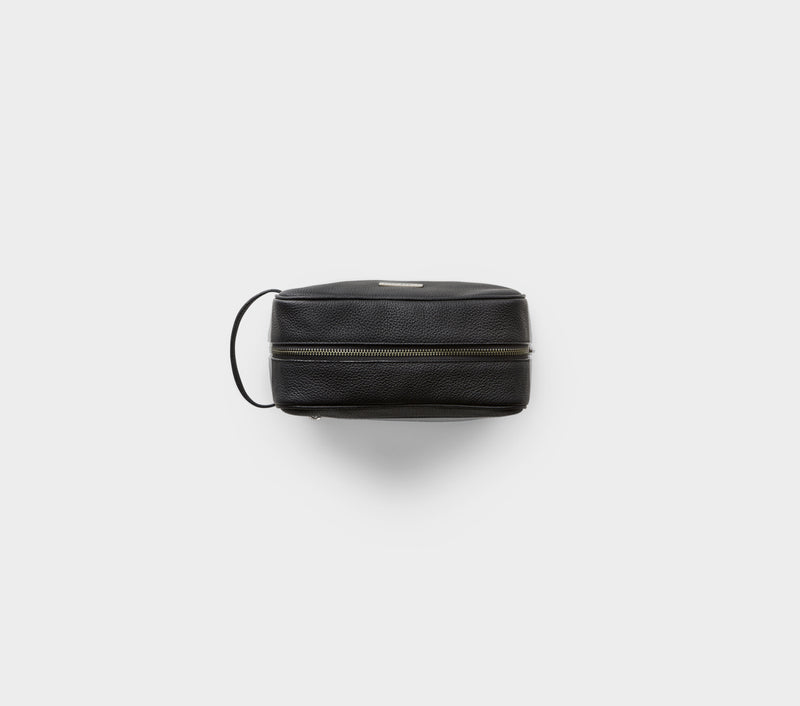 Wash Bag - Black Leather