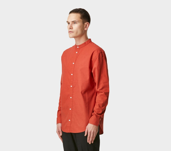 Mandarin Collar Shirt - Persian Red