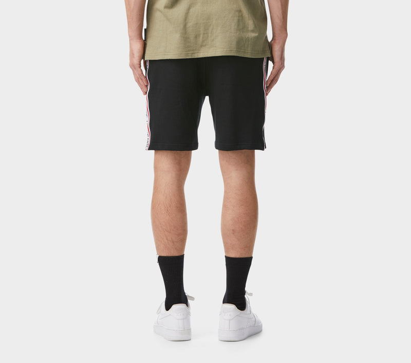 Stripe Taped Trackie Short - Black