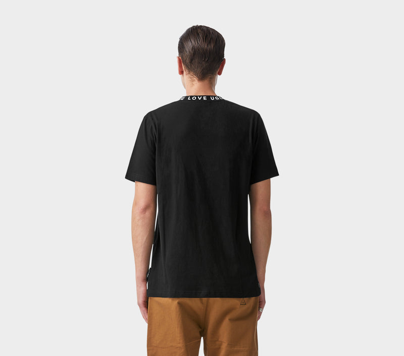 Ribbed Neck Logo Tee - Black