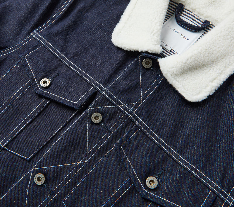 Shearling Collar Denim Jacket - Raw Blue