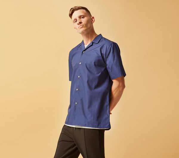 Cuban Collar Short Sleeve Shirt - Navy